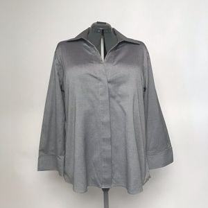 Tops - Twilled Cotton Pique Button Down Blouse